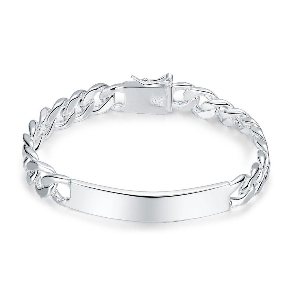 f5888f730ef74 10 MM Chain Bracelets for men wholesale 925 stamped silver plated bracelets  fashion bracelet silver jewelry