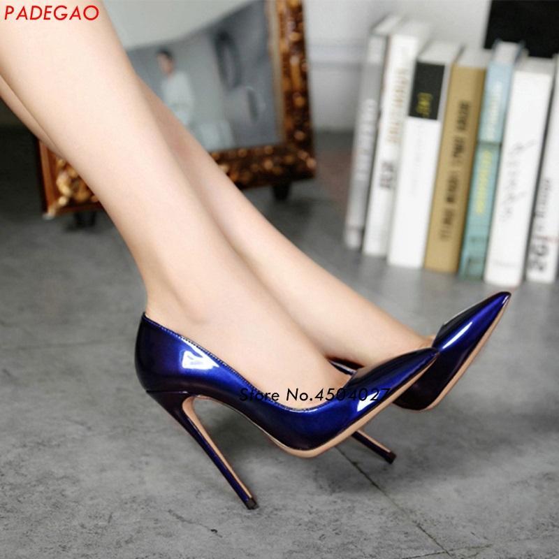 Compre Atractivo Dedo Del Pie Puntiagudo Zapatos De Tacón Alto Charol Azul  Negro Mujer Boda Fiesta Stiletto Tacones Altos Bombas A  109.01 Del  Tengdingshoe ... a48b119d3d8