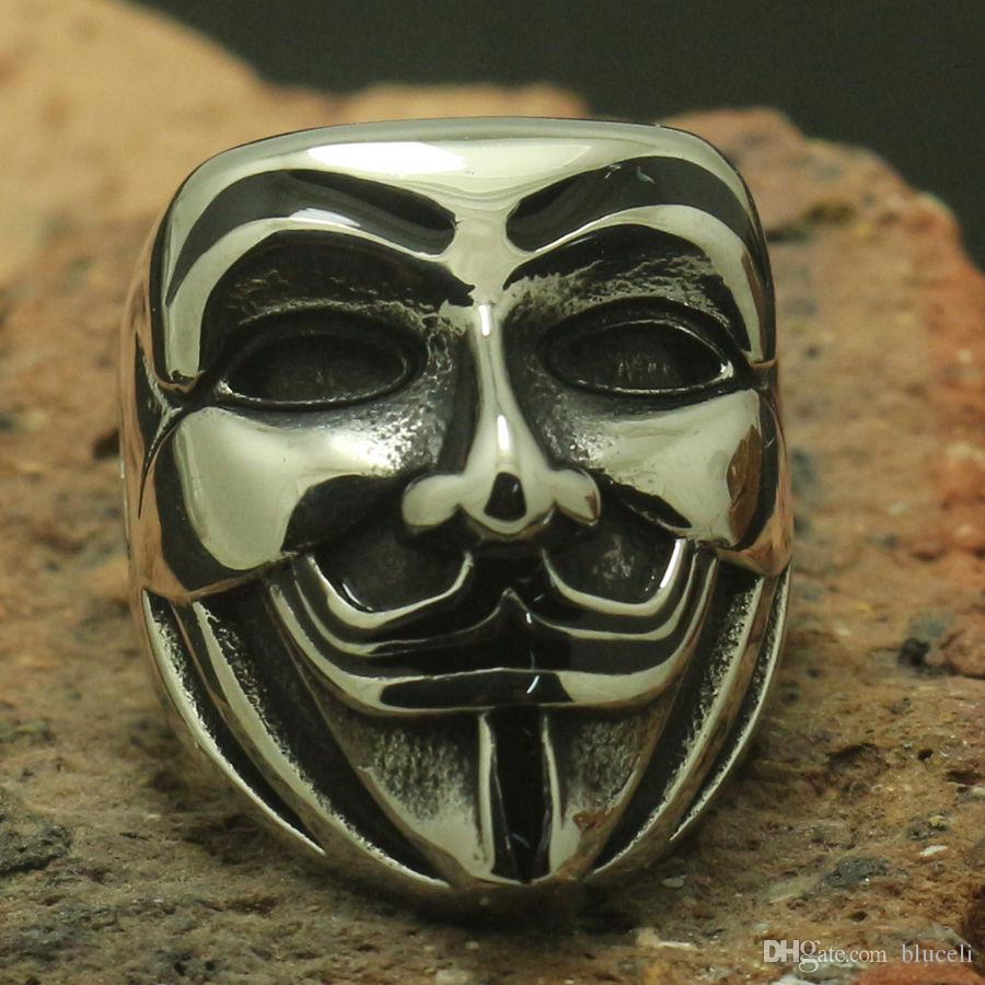 Cool Mens Boy 316L Stainless Steel Humorous Clown Masks Ring Party Ring Good Gift Band Biker