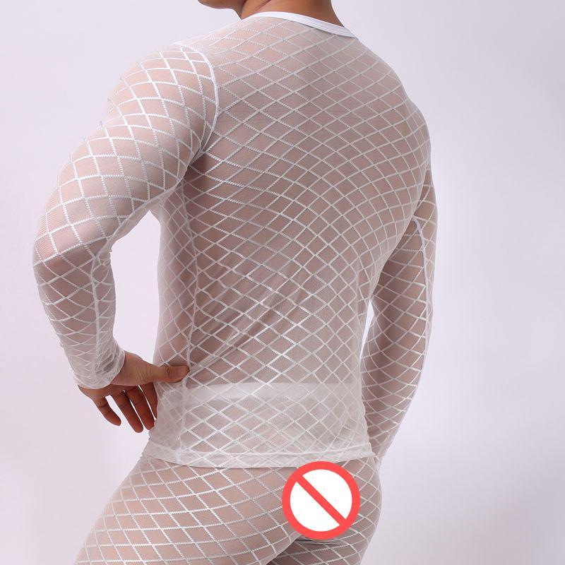 T-shirt da uomo sexy Maglia ultrasottile bianca nera Maglietta da uomo T-shirt manica lunga da uomo o-collo Gay trasparente Vedere attraverso i vestiti della biancheria intima