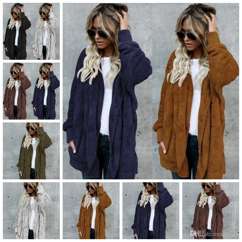 2019 European-style pure color cardigan long sleeves wearing anti-fur Casual pocket plush coat,Support mixed batch