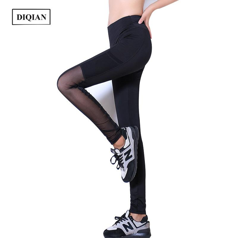 71e0a2fc5b DIQIAN New Arrival Mesh Women Running Pants Fitness Breathable Sport Yoga  Pants Pockets Black Female Sport Ankle-length XL