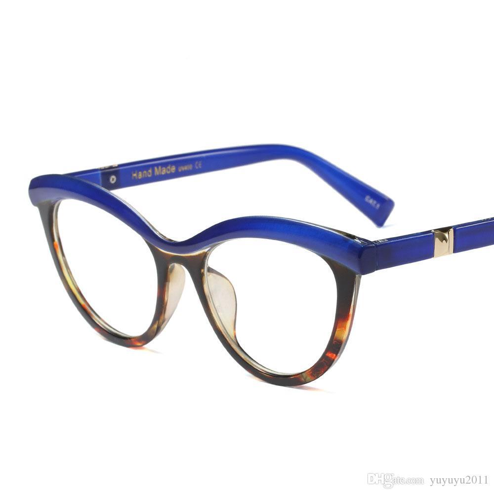 Art und Weisekatzenauge klare Linse Frauen Bernstein ultraleichte schwarze Augenglasrahmen transparente optische Schauspielmarke Eyewear UV