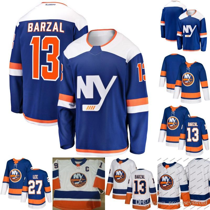 new concept 670f3 03489 Mens 13 Mathew Barzal Jersey New York Islanders 27 Anders Lee 100% Stitched  Hockey Jerseys White Blue Fast Shipping