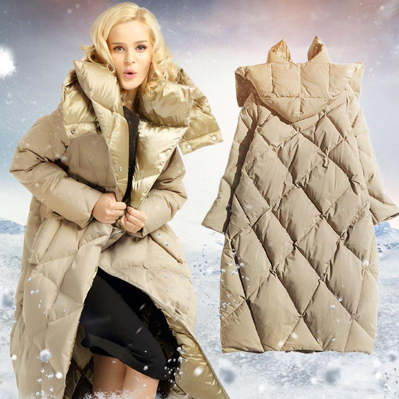 d90dd25bc6f4e 2019 2017 New Winter Cocoon Type Hooded Down Jacket Women White Goose Down  Coat Jacket Warm Long Y18110502 From Zhengrui01