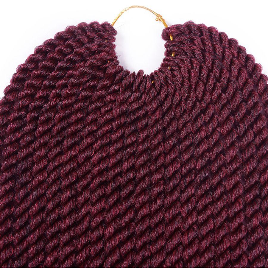 12 14 16 18 20 22 Inch 22Roots / Pack Trenzas de ganchillo Senegalese Twist Extensiones de cabello Kanekalon Sintético Ombre Crochet Braid Braiding Hair