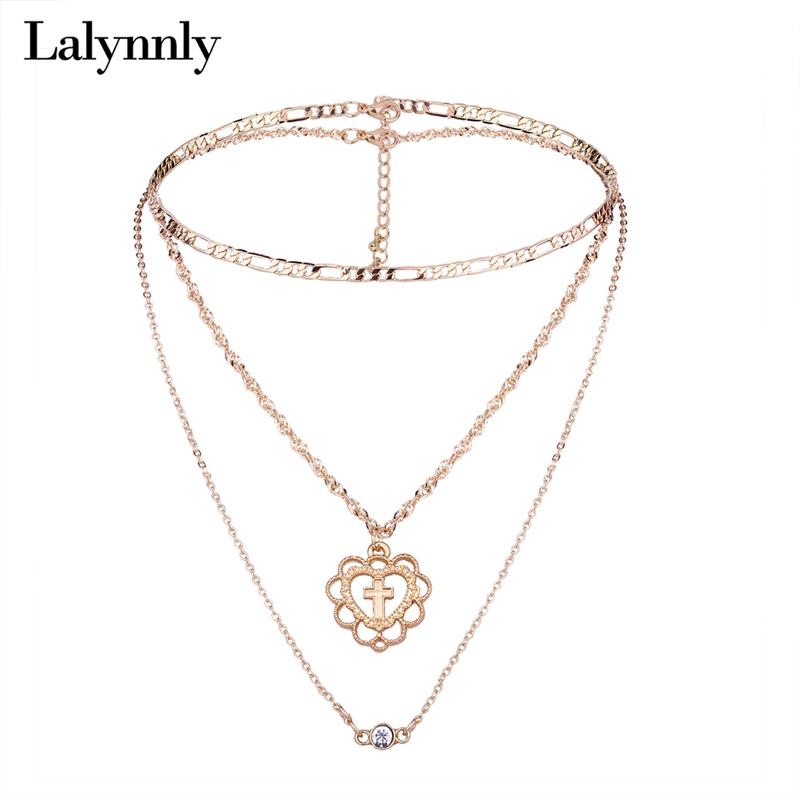 45bfda3ae2aa Compre Lalynnly Oro Amor Collar De Metal Collar De Gargantilla Conjunto  Cruz Linda Joyería De Cadena Larga Para Mujeres Wedding Party Fashion 2018  N61831 A ...
