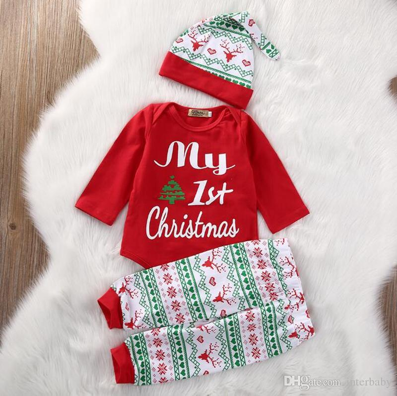 eb708b3c1ce5 2019 My First Christmas Cute Baby Boys Girls Letter Print Tops Pants Hat  Suits Long Sleeve Outfits Infant Designer Clothes Sets YL795 1 From  Interbaby