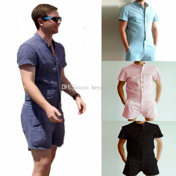 768e1639b3d8 2019 2018 Fashion Men S Stretch Jumpsuit Male Short Sleeve Rompers Short  Cargo Pants Summer Single Breasted Tops Zipper Trousers S XL From  Heyan0117
