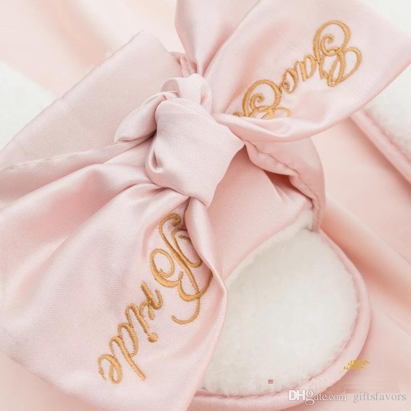 Unique Personalized Wedding Gifts Satin Slippers For Bridesamaid