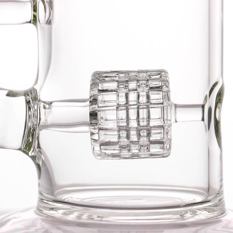 Bong di fabbricazione a nido d'ape Tubo dell'acqua di vetro di vendita calda con stile della gomma e diffusore di vetro a nido d'ape Bong di vetro di percolatore