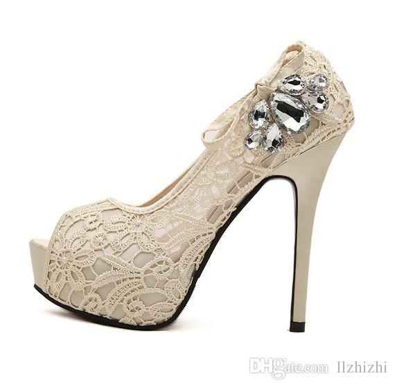 2018 New Han fan club chaussures de femmes sexy poisson bouche eau forage fleurs respirant dentelle plate-forme imperméable à l'eau à talons hauts et chaussures de style nouveauT234