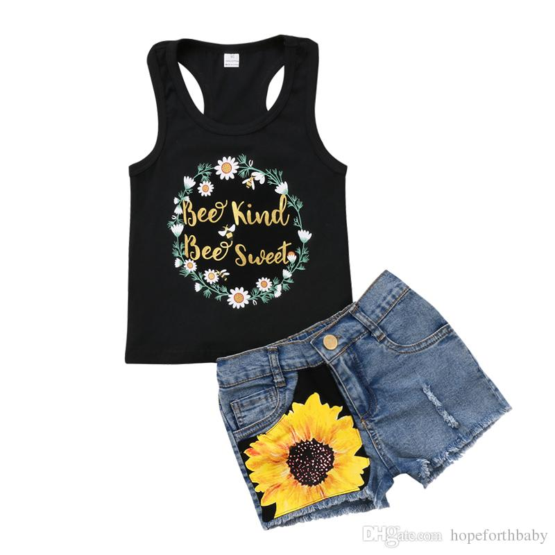 321371869 2018 New Fashion Toddler Kids Girl Summer Clothes Sleeveless Floral Vest  Tops+Sunflower Ripped Denim Shorts Jean 2PCS Outfit Set