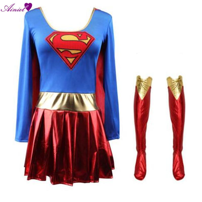 Home New Fashion Adult Sexy Fancy Dress Supergirl Costume Woman Superhero Cosplay Female Superman Costumes Girls Cosplay Party Gown Clothing