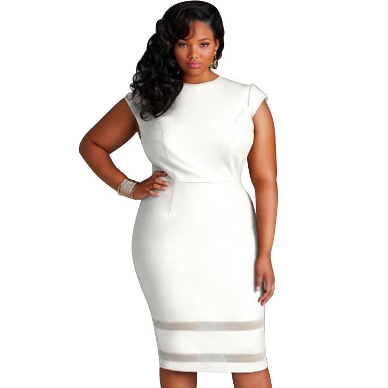 19d190bbe8577 Sexy Women XXXL 4XL 5XL Plus Size Bodycon Dress Mesh Splice Solid Color  Bandage Dress Female O Neck High Waist Slim Midi Dress White Floral Summer  Dress ...