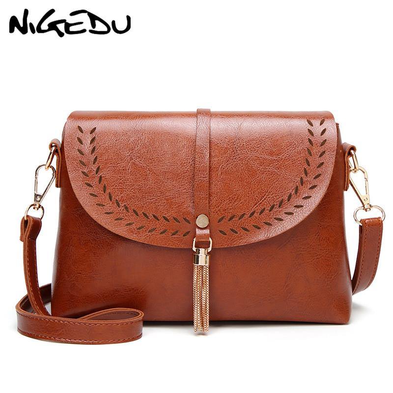 cfc368b142 NIGEDU Hollow PU Leather Women Shoulder Bags 2018 Chain Tassel Crossbody  Messenger Bags Small Female Handbag Purse Bolsas Black Shoulder Bags  Handbags On ...