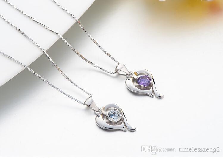1 UNIDS exquisito estilo Coreano delfines amor collar 925 nacklace plateado puro con diamante colgante de la cadena de la clavícula en caja de cumpleaños regalo agradable
