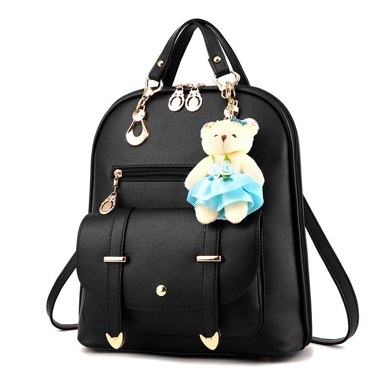 Bear Pendant PU Women Bags Female Korean Fashion College Wind Small Backpack Solid Zipper 2018 New