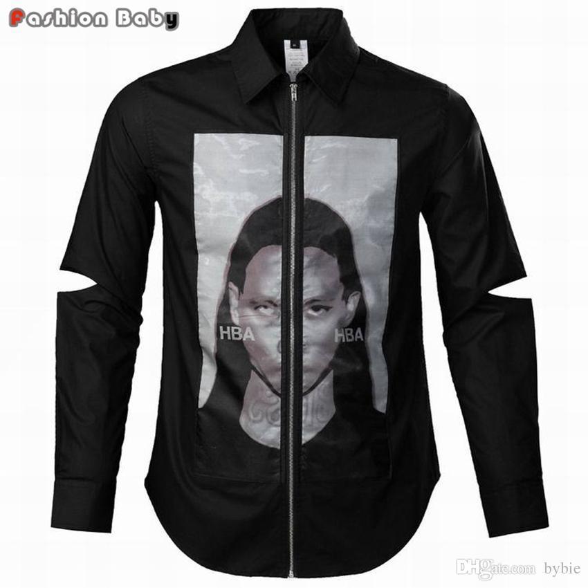 Großhandels-Männer hba Mode Gaze gedruckt Reißverschluss Baumwolle Langarm  Kleid Freizeithemd kühle Party Shirts schwarz weiße Farbe