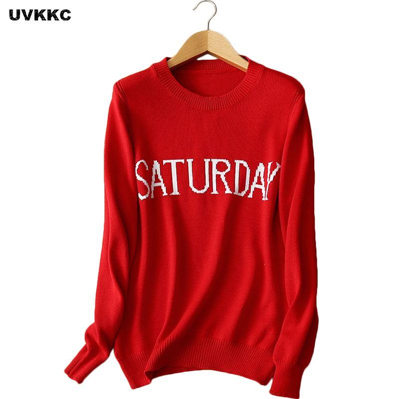Großhandel Frauen Pullover Und Pullover Woche Briefe Muster Pullover ...