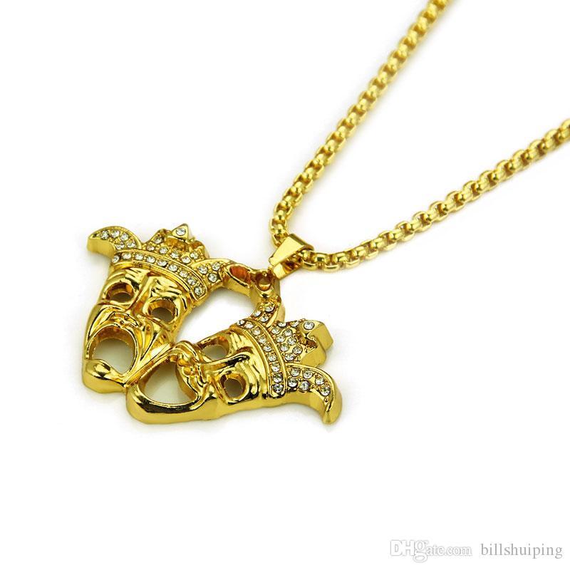 Горячие продажи моды для мужчин хип-хоп клоун двойные призраки ожерелье горный хрусталь ожерелья позолоченные Маска хип-хоп рэппер панк ювелирные изделия