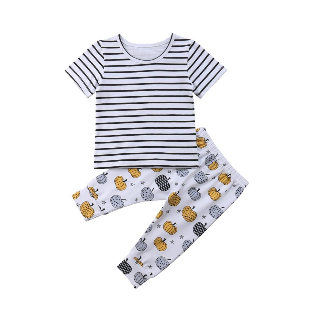 a2de212ff Compre Recién Nacido Niño Pequeño Niños Ropa De Bebé Niña Algodón Casual  Volantes Populares Tops Pantalones Polainas 2 Piezas Conjuntos De Ropa  Conjunto A ...