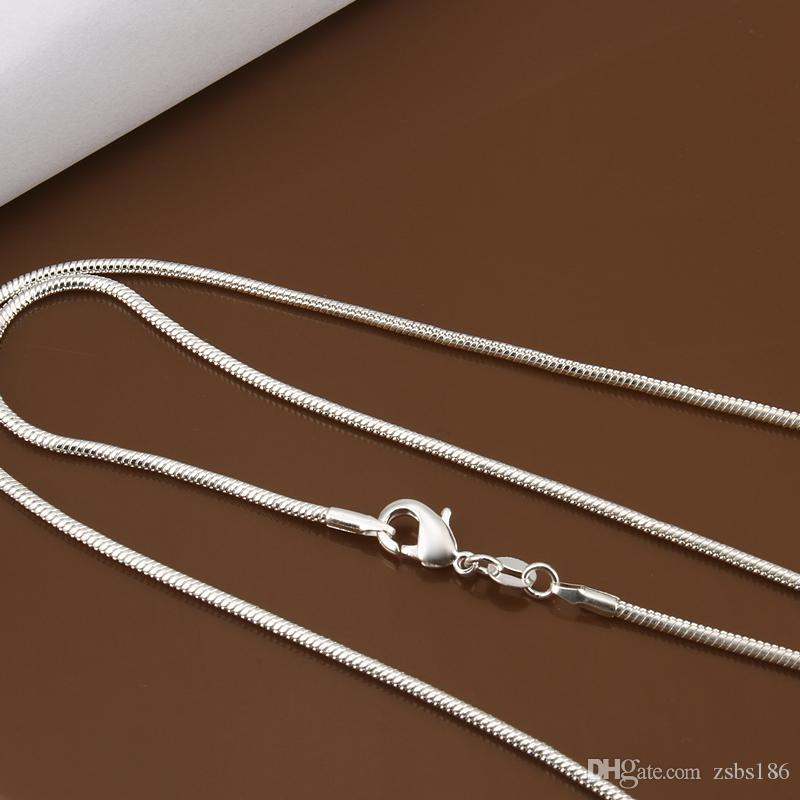 Wholesale Cheap 925 Silver Plated 2MM Snake Chain Necklace 16 18 20 22 24inches Mixed Size Fashion Jewelry For Women And Men