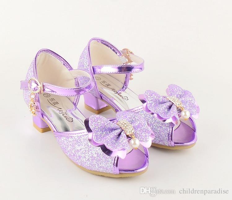6890489d Compre 2018 Niños Princesa Glitter Sandalias Niños Niñas Zapatos De Boda  Tacones Cuadrados Zapatos De Fiesta Zapatos De Fiesta Púrpura / Dorado A  $25.39 Del ...