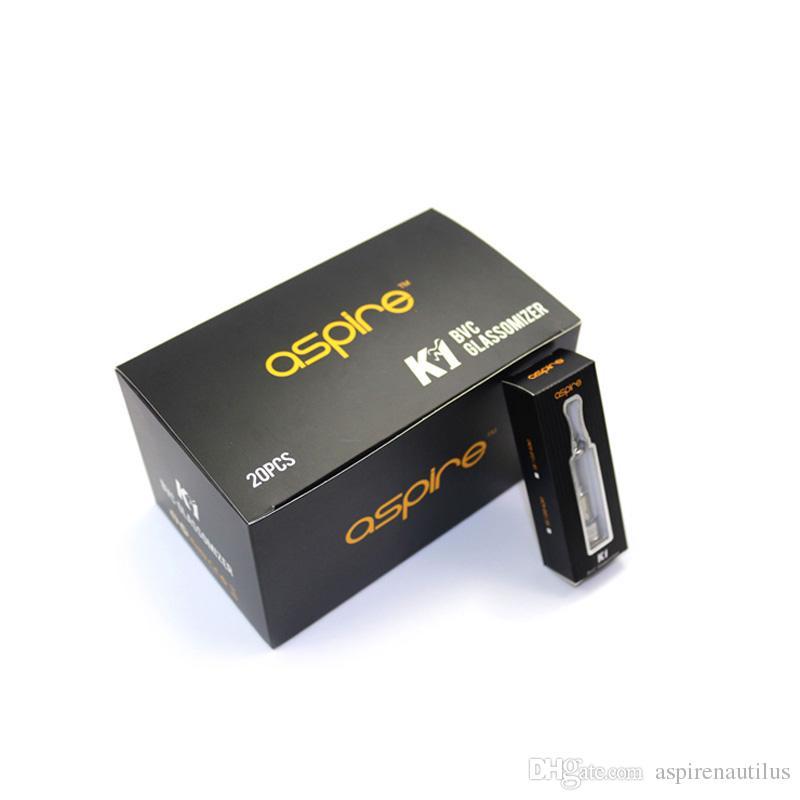 Neue Ankunft Original Aspire K1 BVC Zerstäuber Glassomizer Elektronische Zigarette Ego Zerstäuber 1,5 ml K1 Clearomizer Besten Ecig Verdampfer Heißer Verkauf