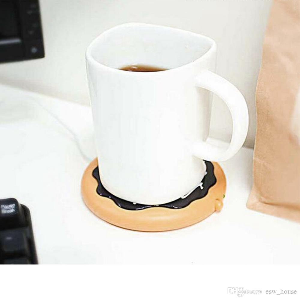 Newest Creative Giant Donut USB Cup warmer Cute Hot Cookie Mug Warmer Coaster Office Tea Coffee Beverage USB powered Heater Biscuit Tray Pad