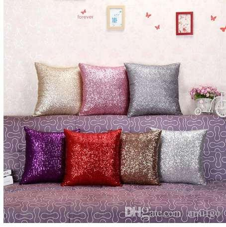Solid Color Glitter Silver Sequins Bling Throw Pillow Case Cafe Home New Bling Decorative Pillows