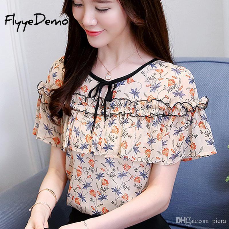 852e4558729 2019 2018 Summer Cute Floral Print Chiffon Blouse Ruffled Bow Shirt Petal  Short Sleeve Chiffon Tops Plus Size Blusas Femininas From Luiyer