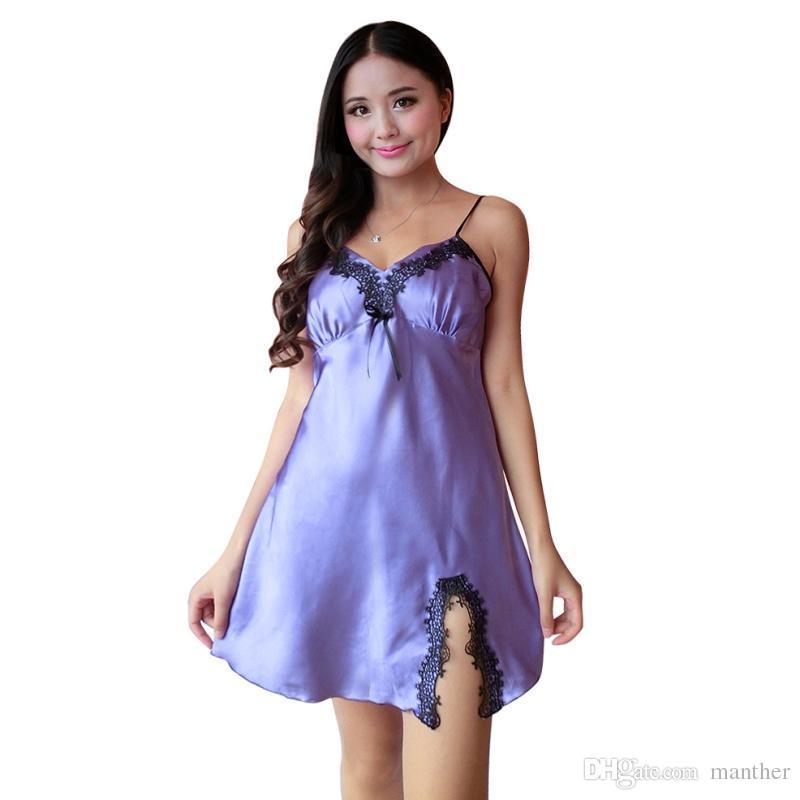 Buy Wholesale Ladies Sexy Silk Satin Night Dress Sleeveless Nighties ...