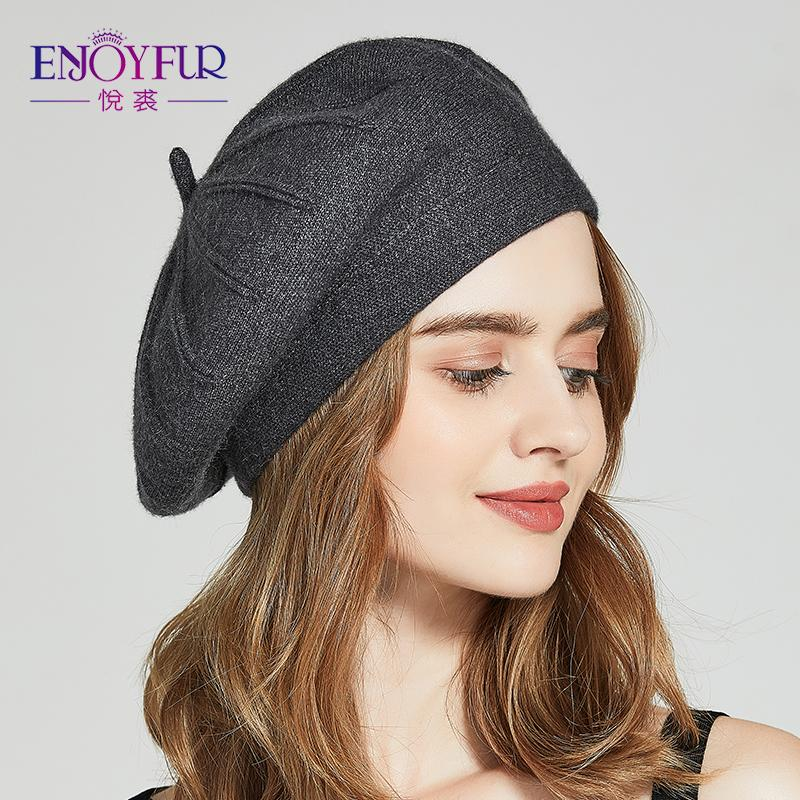 ENJOYFUR Winter Berets Hats For Women Autumn Knitted Wool Painter ... f434e85575f