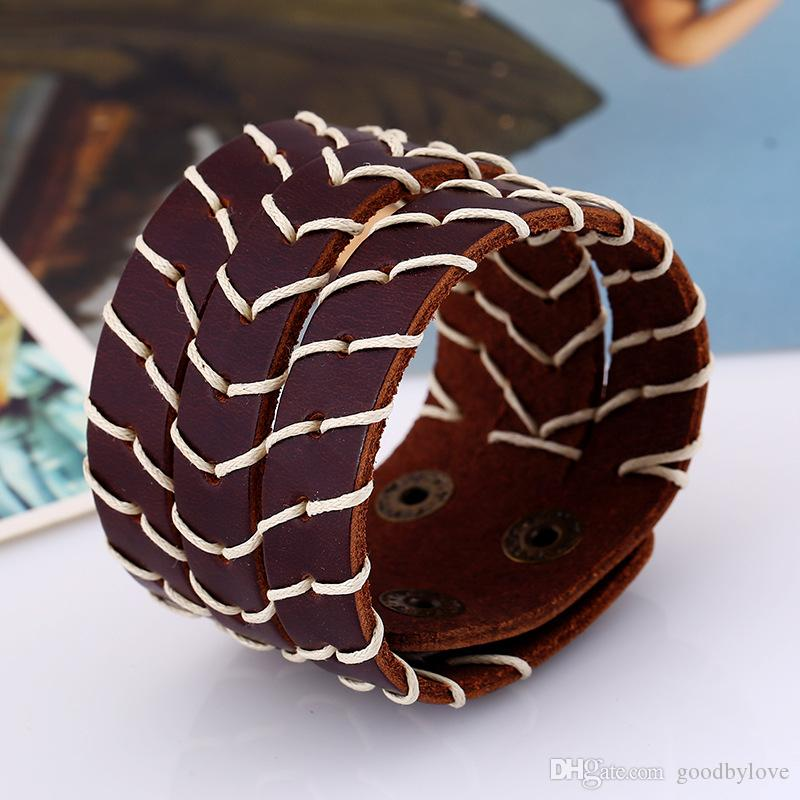 Punk Retro Real Genuine Cowhide Leather Cuff Wristband Rope Woven Multilayers Brown Bracelets Bangles for Women Mens Jewelry