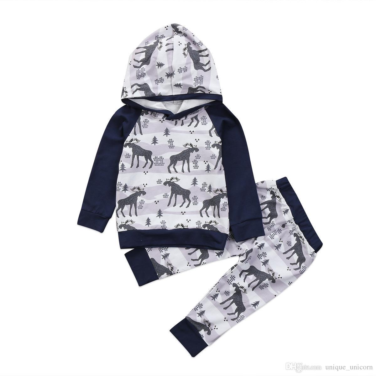1459f1499 Newborn Infant Kid Baby Boy Clothes Set Gray Deer Hoodies Tops Long ...