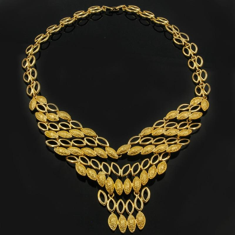 CZ Fashion African V-Design Big Necklace Dubai Gold Jewelry Set Classic Bride Wedding Ring Earrings Jewelry Accessories