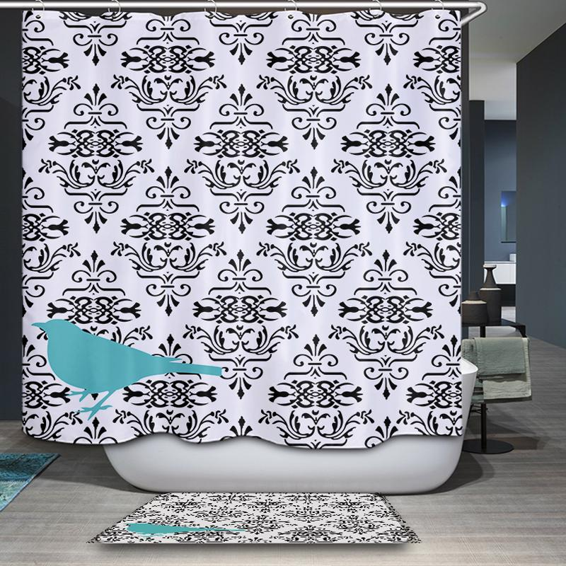 2018 New Arrival Nordic Rural Simple Modern Geometry Pattern Customized Shower Curtain Waterproof Bathroom Fabric From Williem