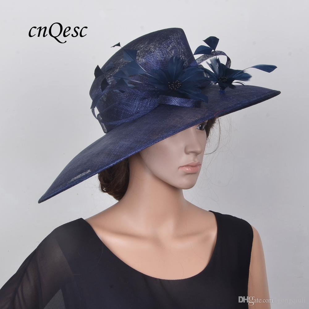 5f216a89501 Large Sinamay Hat Church Hat Bridal Hat Fascinator W Feather Flowers For  Wedding