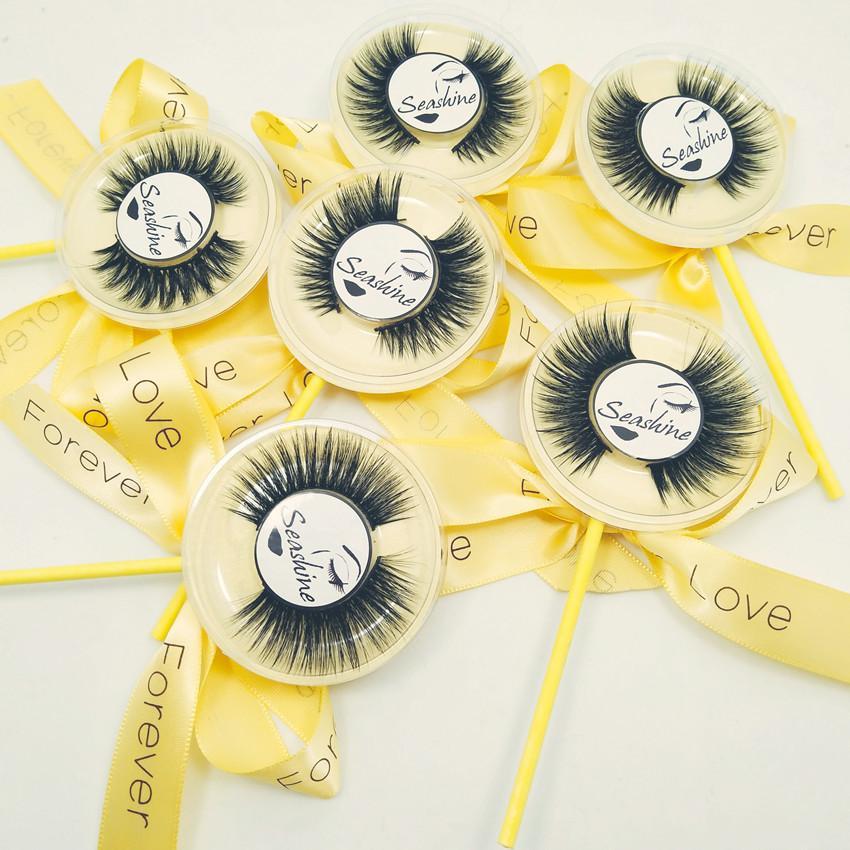 16 estilos seleccionables 10 pares Logotipo OEMPrivate Aceptable 3D Mink real Lollipop Pestañas Tira completa Pestañas desordenadas Extensión Pestaña sexy