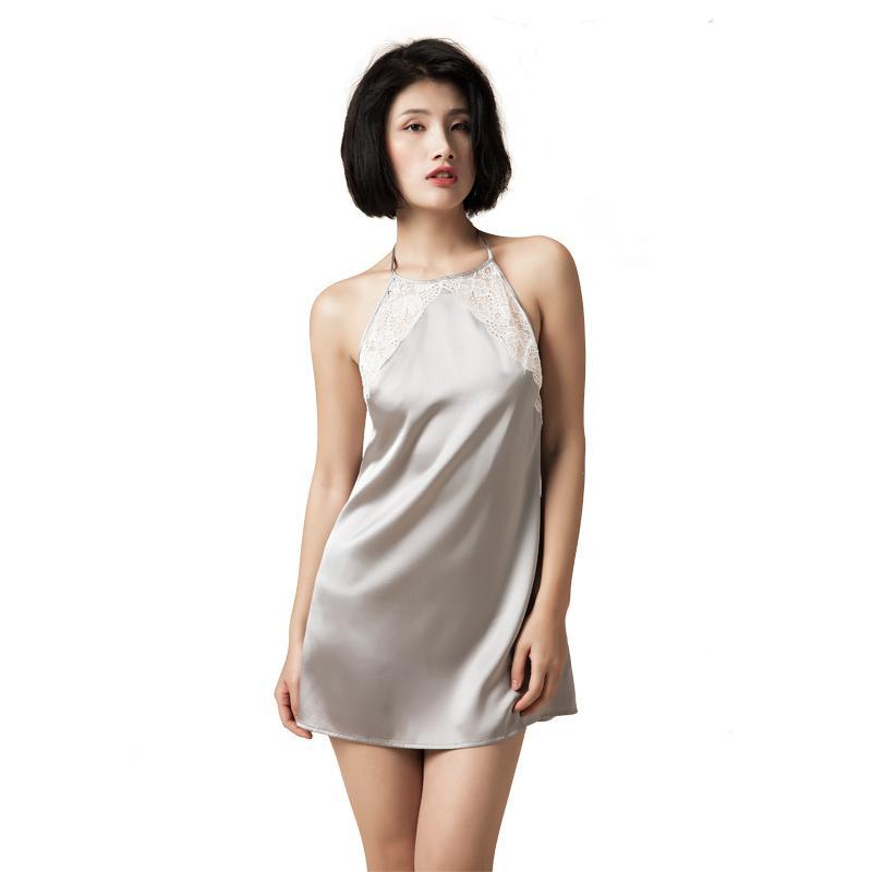 75a160df496667 Frauen 100% reine Seide Nachthemden Spitze Nachtwäsche Halter Nacht Kleider  Kleider Maulbeerseide Sexy Dessous Nachthemden für Frauen