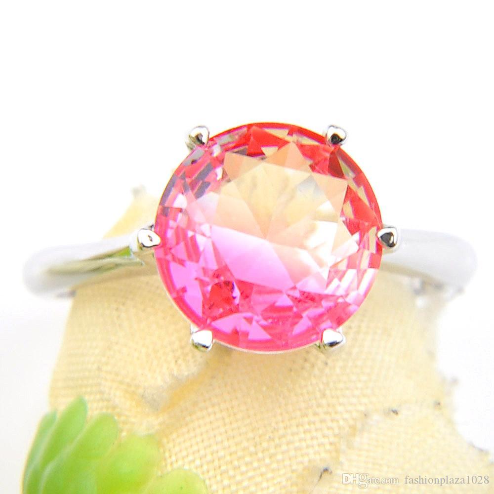 Luckyshine Moda Jóias Popular para Mulheres 925 Anel de Carimbo Redondo Pink Tourmaline Gemstone 925 Esterlina Prata Banhado Casamento Anéis