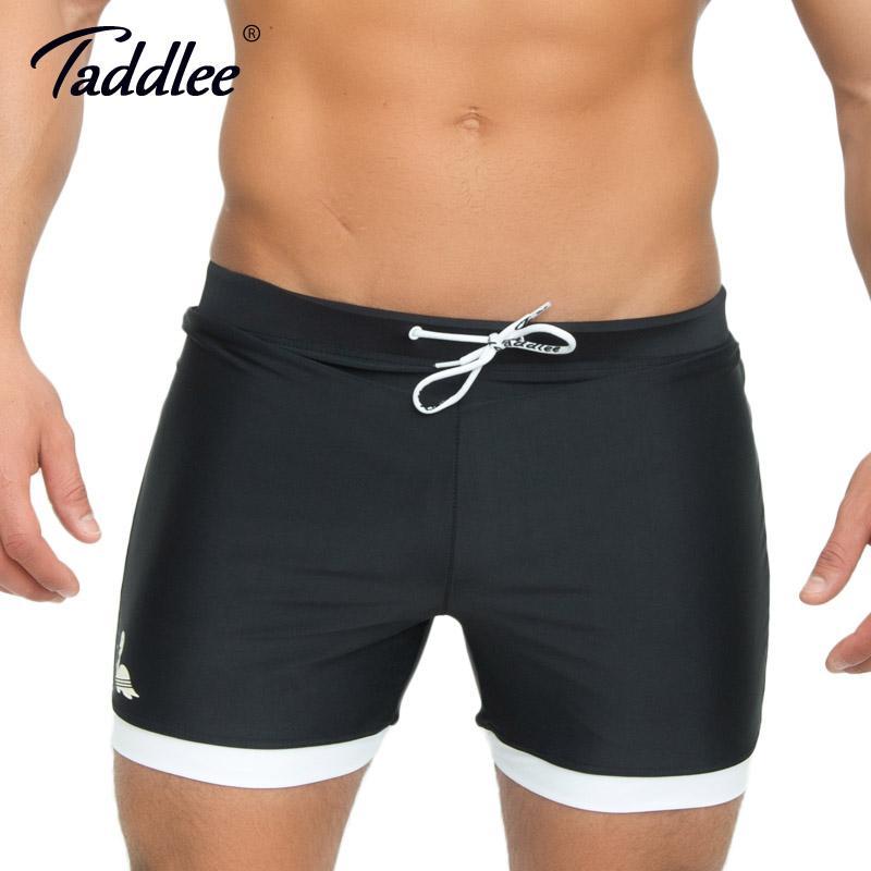 b8a7b1d6de21 Al por mayor-Taddlee marca para hombre traje de baño trajes de baño Swim  boxer troncos largo color sólido tablero negro Surf Shorts tamaño grande ...