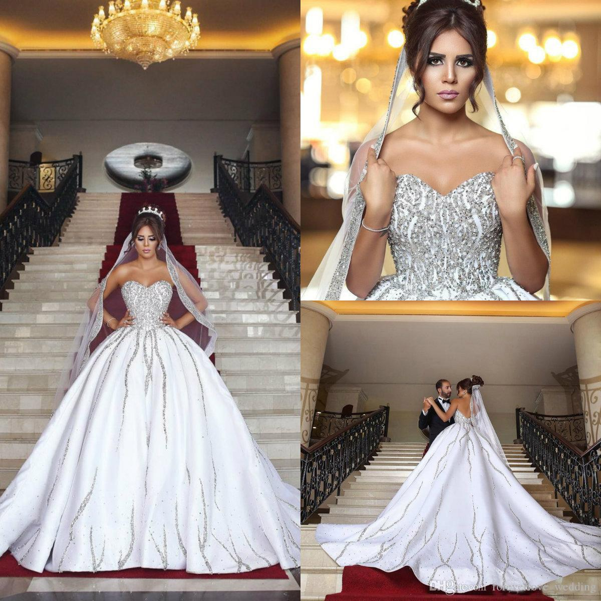 Luxury Bling Dubai Arabic Plus Size Wedding Dresses Satin Beads Sequins  Sweetheart Backless Sweep Train Country Bridal Gown