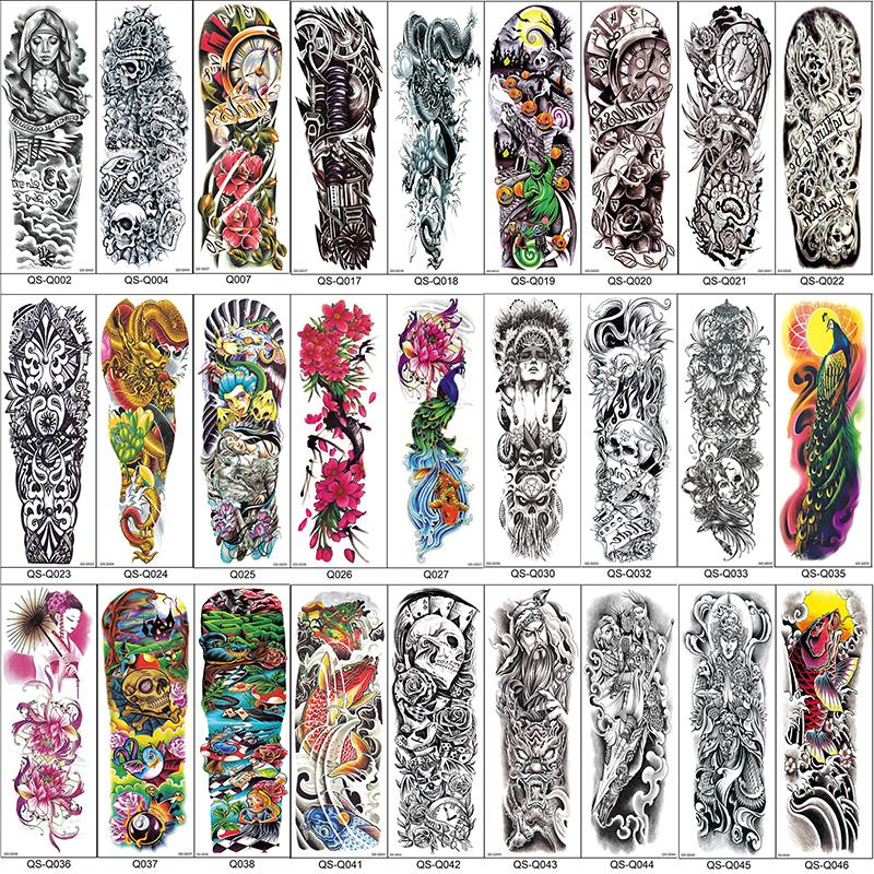 cfb48b135 Full Arm Temporary Tattoo Sleeves Peacock Peony Dragon Skull Designs  Waterproof Cool Men Women Tattoos Stickers Body Art Paints Temporary Tattoo  For Adults ...