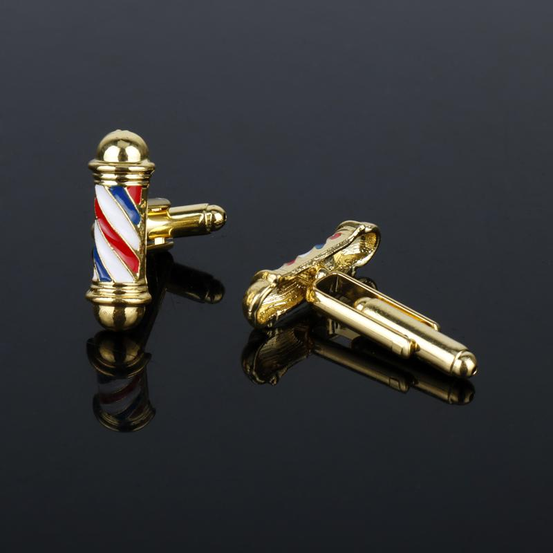 Barber Shop Sign Barber Pole Cufflinks Hairdresser Friends Gifts Cuff Links pins for Shirts Creative Jewelry