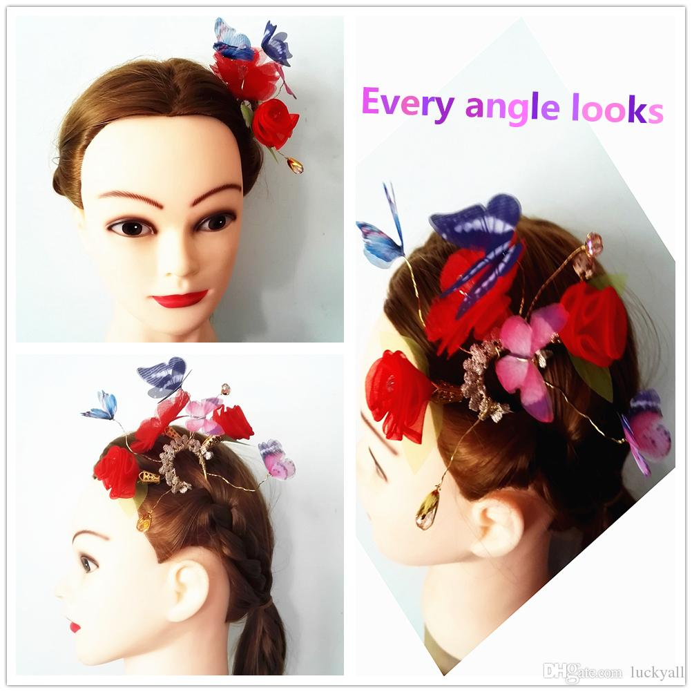 bridal hair pin wedding hair accessories wedding accessories butterfly and rose clips headpiece hair clip for women or ladies