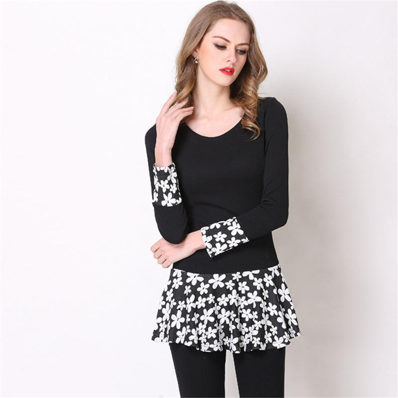 Plus Size Dresses For Women Autumn Long Sleeve Solid Black Loose