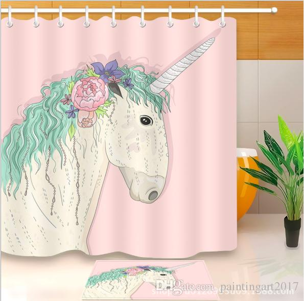 2019 3D Polyester Fabric Handmade Horse Shower Curtains With 12