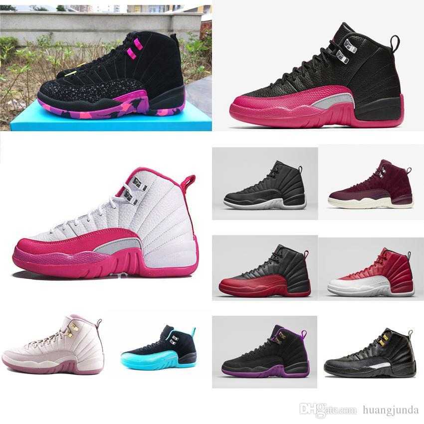 ee8f1e4cfdc3e3 Cheap Womens Jumpman 12 XII Basketball Shoes 12s Black Red Flu Games ...